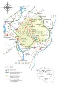 """Granice Borów Tucholskich. Źródło: W. Szkulmowska - """"Sztuka Ludowa w Borach Tucholskich"""" Mapę opracował: J. Umiński"""
