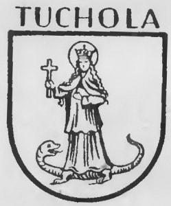 Tuchola - herb miasta na grafice z okresu międzywojennego.