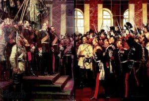 """""""Proklamacja Cesarstwa Niemieckiego"""" (obraz olejny, Anton von Werner, 1885)."""