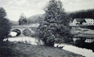 Tleń (Klinger), most na Wdzie i gospoda.